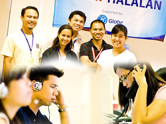 Volunteers man the telephones and help educate voters at the Gabay Halalan Call Center