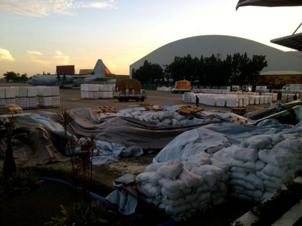 Relief goods await at Villamor Air Base to be shipped to affected areas in the Visayas region